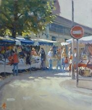 "ORIGINAL MICHAEL RICHARDSON OIL ""Market Day, Dinard"" BRITTANY FRANCE PAINTING"
