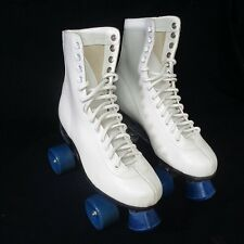Tall White Leather Vintage Style Roller Rink Skates Mens Size 8 Retro New Stock