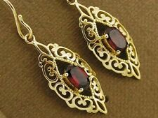 E087- Ornate Genuine 9ct Solid Gold NATURAL Garnet Filigree Drop Earrings