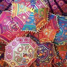 3 Pc Lot Decorative Indian Hand Embroidered Parasol Vintage Sun Shade Umbrella