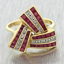 1960s Vintage Estate 14k Solid Yellow Gold .15ctw Diamond Ruby Ring