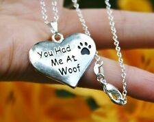 .925 Sterling Silver NECKLACE You Had Me At Woof Dog Paw Print Romantic Gift