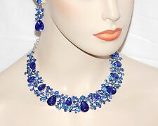 Royal Blue Sapphire Rhinestone Crystal Necklace & Teardrop Earrings Set /16146