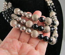 Estate Vintage Sleek Sterling Silver Black Onyx Beads 3 Strand Torsade Necklace
