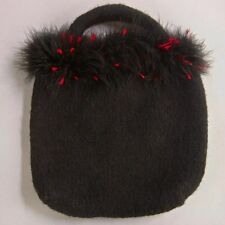 Artisan Handmade Black Felted Boiled Wool Knitted Purse Ostrich Feather Trim