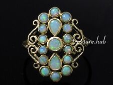 R274 Vintage style Genuine 9ct Yellow Gold SOLID Natural OPAL Cluster Ring sz P