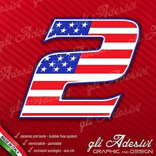 Adesivo Stickers NUMERO 2 moto auto cross gara USA Star & Stripes 5 cm