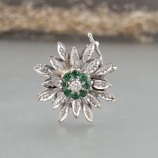 Perlenketten Verschluß mit Brillant + Smaragden in 585/14k Weißgold