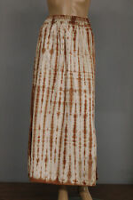 PRISA COLLECTION EUROPEAN SPRING LINEN TIE DYED SLITS LONG SKIRT BROWN MIX Sz 1