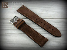 22 mm Genuine Italian Leather LS SUEDE Vintage Watch Strap Band Coffee Brown