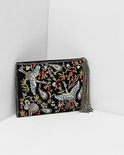 ZARA SPECIAL EDITION EMBROIDERED VELVET HANDBAG FLORAL BIRD CLUTCH BAG BLACK GOL