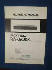 ROTEL RA-820BX INTEGRATED AMP TECHNICAL SERVICE MANUAL FACTORY ORIGINAL