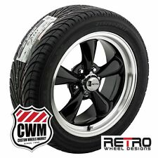 "17 inch 17x7"" Retro Black Wheels Rims Tires 215/45VR17 for Ford Mustang 65-66"