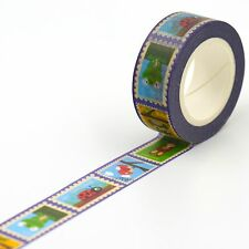 15mm x 10M Zoo Animal Postage Stamp Print Washi tape 1pc with Box Ladybug Frog