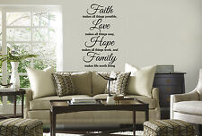 FAITH LOVE HOPE FAMILY Quote Vinyl Wall Sticker Art Home Decor Decal INSPIRATION