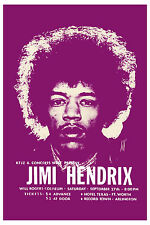 Rock: Jimi Hendrix at Fort Worth Texas Concert Poster 1969