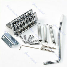 For Fender Strat Chrome Guitar Tremolo Bridge With Bar 1 Set 6 Strings