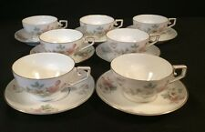 Tirschenreuth Bavaria Germany Pasco Cream Apples Blossom Cup and Saucer Lot Of 7