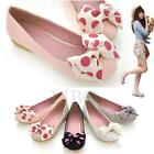 Womens Girls Casual Bowknot Ballet Flat Shoes Round Toe Slip On Loafers Oxfords