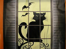 "halloween window silhouette decoration   30"" x 48"" black cat"