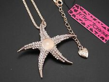 Betsey Johnson Cute inlaid crystal opal starfish pendant necklace # F316