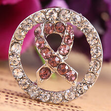 5Pc Pink Ribbon Crystal Rhinestone Connectors Beads Breast Cancer Awareness
