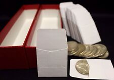 100 2x2 Paper Coin Stamp Envelopes GUARDHOUSE Archival + Red Storage Box 9x2x2