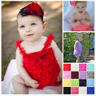 NEWborn Infant Baby Girl Lace Posh Petti Ruffle Rompers tutu With strap 0-3Y
