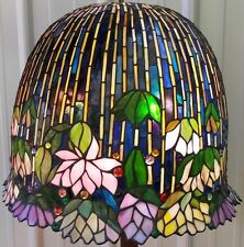 "LARGE 18"" TIFFANY STYLE JEWELED STAINED GLASS LOTUS WATER LILY LAMP SHADE"