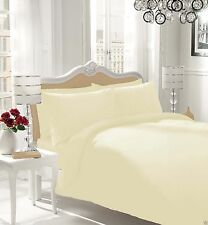 LUXURY COMBED POLY COTTON BEDSHEET PLAIN FITTED DUVET COVER BEDDING PILLOW CASES