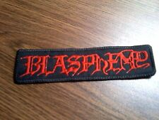 BLASPHEMY.SEW ON RED EMBROIDERED PATCH