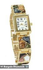 ladies natural stone gold tone designer-style fashion dress watch link bracelet