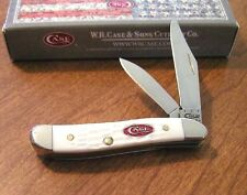 CASE XX New White Jigged Delrin Handle 2 Blade Spar XX Peanut Knife/Knives