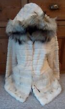 new design 100% real   arctic coyote fox fur +  rabbit  fur coat hooded