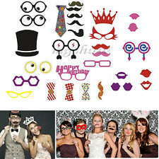 31Pcs Photo Booth Props Selfie Weddings Birthday Party Mustache On A Stick Set