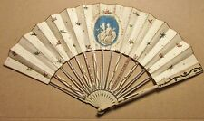 EARLY-MID 19TH CENTURY PAPER FAN WITH HAND SCENE, SILVER INLAY