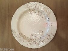 APHORISM WHITE OFF WHITE RUSTIC FLORAL MELAMINE DINNER PLATES IVORY ll MULINO
