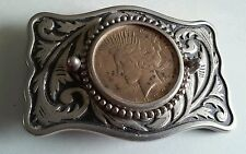 Metal Belt Buckle With A 1923 Peace Silver Dollar