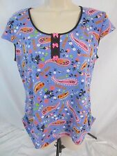 Betseyville Betsey Johnson Pajama Top Multi-Color Paisley Stretch Women's L AA30