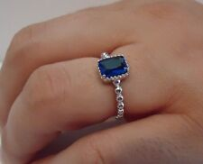 BEADED SHANK SQUARE CENTER RING W/ 2 CT TANZANITE/ 925 STERLING SILVER /SZ 5-9