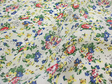 "Ivory ""Tea Party"" Summer Floral Printed 100% Cotton LAWN/VOILE Fabric"