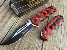 TAC FORCE Spring Assisted Opening SAWBACK Folding Pocket Knife RED SKULL CAMO