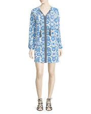 $130 Michael Kors Women's Blue Printed Long-sleeve Dress W/tassels.SZ:XL