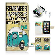 iPhone 5 5S Print Flip Wallet Case Cover! Forever Happy P0179