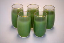 VINTAGE GLASSES - ROLY POLY - AVOCADO GREEN FROSTED TUMBLERS - SET OF 5