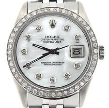 Rolex Datejust Mens Stainless Steel w/ White MOP Diamond & Original Jubilee Band