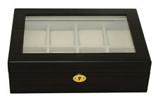 Luxury ebony wooden watch box display case for large watch ex-display