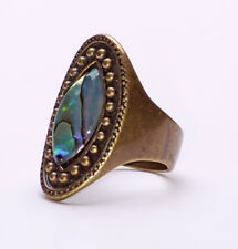 RETRO BRONZE LADIES VINTAGE INSPIRED BLUE ABSTRACT STONE RING UNIQUE (ZX31)