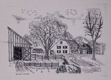Western Farmhouse w Barn Old West Pen and Ink Drawing by Jim Stubbs Inscribed