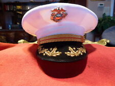 USMC FIELD GRADE OFFICER HAT BANCROFT CAP COMPANY DRESS WHITE COVER VISOR